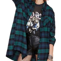 ® Women's Green Blue Long Sleeve Plaid Loose Blouse