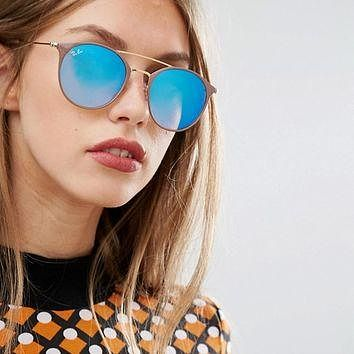 Ray-Ban Round Sunglasses with Double Brow Bar and Flash Lens at asos.com