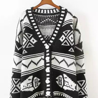 Tribal Pattern Buttoned V-Neck Knitted Cardigan