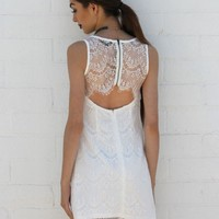 Open Back Lace Dress - White