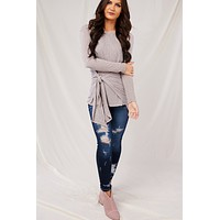 Gift Of Love Long Sleeve Top (Taupe)