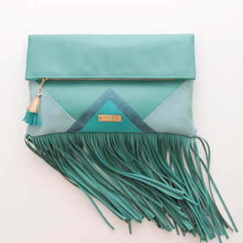 CARRIER 14  / Large leather fringed  fold over daily clutch bag -  Ready to Ship