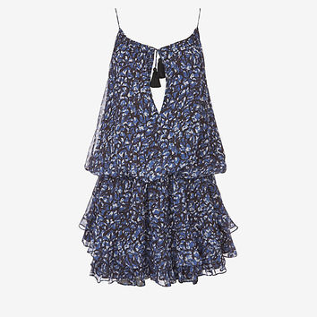 Elizabeth and James Gathered Tassel Tie Print Dress at INTERMIX | Shop Now | Shop IntermixOnline.com