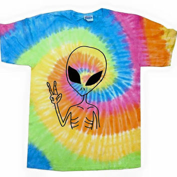 Peace Alien colorful tie dye t-shirt