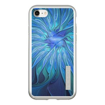 Blue Flower Fantasy Pattern, Abstract Fractal Art Incipio DualPro Shine iPhone 7 Case