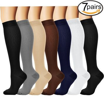 7 Pairs Compression Socks For Women and Men - Best Medical, Nursing, for Running, Athletic, Edema, Diabetic, Varicose Veins, Travel, Pregnancy & Maternity - 15-20mmHg ¡­
