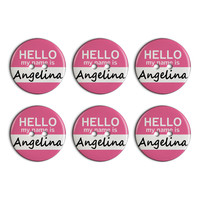 Angelina Hello My Name Is Plastic Resin Button Set of 6