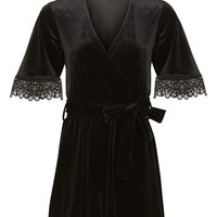 Velvet Wrap Playsuit - Playsuits & Jumpsuits - Clothing
