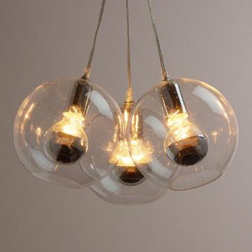 Seeded Glass Chrome-Tip 3-Bulb Cluster Pendant Lamp