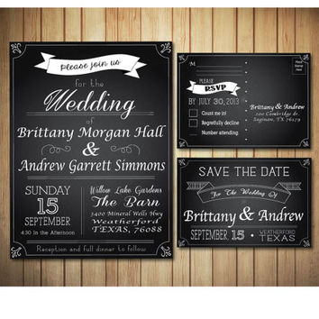 Elegant Chalkboard Style Wedding Invitation SET, with Save The Dates & RSVP Cards, PRINTABLE Invitations, modern chalk board invite.