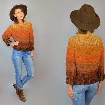 vtg 80's OMBRE GRADIENT knit long sleeve southwest boho hippy SWEATER jumper, extra small-small
