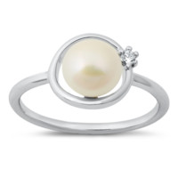 .925 Sterling Silver Pearl Full Circle Karma O Ladies Ring Size 5-10 with Open CZ