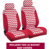 Seat Covers - Zig Zag Chevron Red/White w/ Separate Headrests (PAIR) - USA MADE