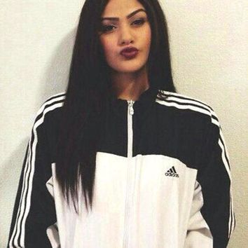 Adidas Women Casual Zipper Cardigan Jacket Coat Sweatshirt