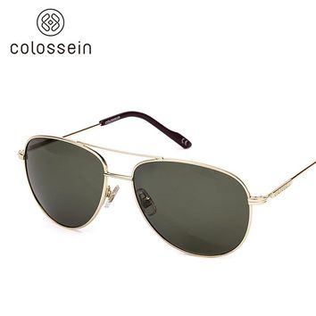 COLOSSEIN Orange Label 2017 Fashion Sunglasses Metal Oval Frame Polarized Lenses Women Men Vintage Eyewear Glasses New Arrival