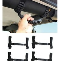 E-cowlboy Black 4 X Grab Handles Grip Handle for Jeep Wrangler Yj Tj Jk JKU Sports Sahara Freedom Rubicon X & Unlimited X 2/4 Door 1995-2016