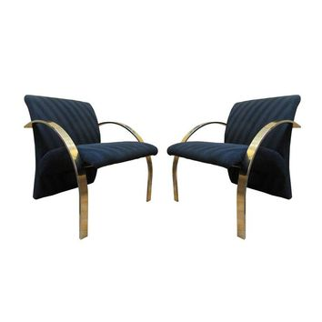Pre-owned Rare Brass Lounge Chairs by Directional - A Pair