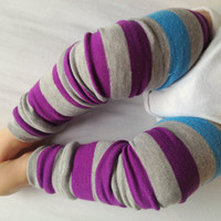 Gray Purple with Blue Stripe Baby Legs / Girl Leg by OSewHappy