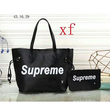 Supreme & LV Louis Vuitton Co-branded 2018 new wild shoulder bag female handbag two-piece F-WMXB-PFSH black