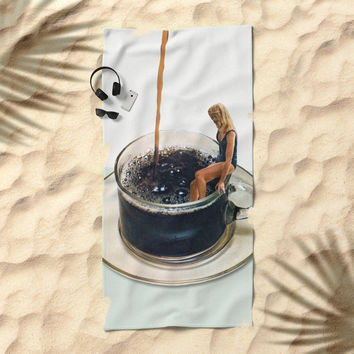COFFEE Beach Towel by bethhoeckelcollage