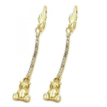 Gold Layered 5.110.002 Long Earring, Teddy Bear Design, with  Cubic Zirconia, Gold Tone