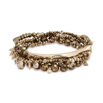 Kendra Scott Supak Brown Pyrite Beaded Bracelet Set
