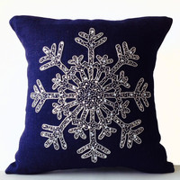 Christmas Pillow -Snowflake -Navy Blue Pillows -Burlap Pillow case-Throw Pillows -Christmas Cushion -Silver Sequin Snow Pillows -16x16 -Gift