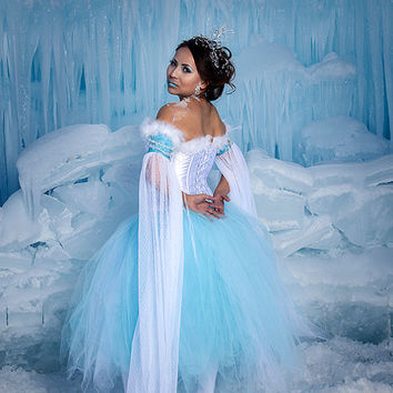 Snow Princess, Ice Queen or Winter Fairy Costume with White Corset, Flowing Sleeves, Blue Tulle Skirt and Crystal Crown - Adult Size Sm-Med
