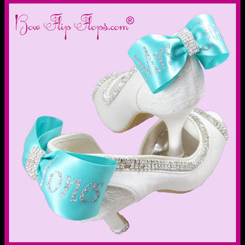 Bridal Heels Personalized  Mrs New Last name  high heels for the Wedding in Ivory with a Peep Toe and Satin Bow Rhinestone