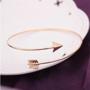 Free Shipping Unisex Arrow Bracelets Gold Silver Color Open Adjustable Men Women Cuff Bracelet Brincos Pulseiras Bijoux 2017