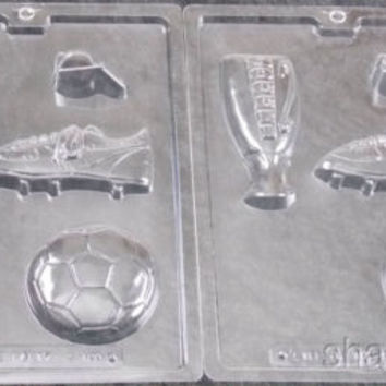 Set 2 Soccer Chocolate Mold Cybr Trayd 3D Molding S100 Trophy Cleat Ball Whistle