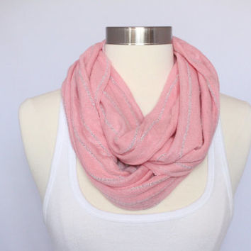 Pink Infinity Scarf With Grey Stripes