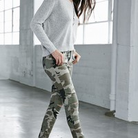 Bullhead Denim Co. Camo Ripped Mid Rise Skinny Jeans - Womens Jeans - Camo