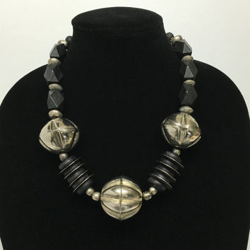 Black and Silver African and Thai Wood Choker Necklace