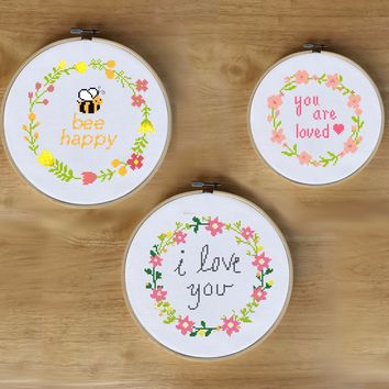 Floral Wreath Cross Stitch Patterns - Bee Happy, I Love You, and You Are Loved