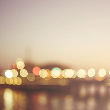 Santa Monica Pier Sunset Bokeh Beach Photography Los Angeles California Summer Night Dusk Wall Print Seaside