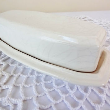 butter dish white Pfaltzgraff vintage heritage collection shabby chic kitchen