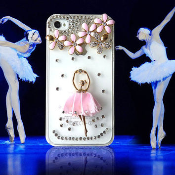 iphone,cute iphone 4 case,iPhone 4 Case, iPhone 4S shell, ballet girl diamond phone shell protective sleeve