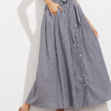 Self Tie Hidden Pocket Detail Button Up Pinstripe Skirt | MakeMeChic.COM