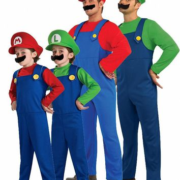 Super Mario Costume with Hat and Beard Adult Child Green / Red Supermario Costume Super Mario Bros Cosplay