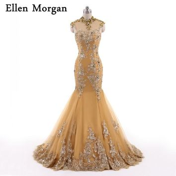 Muslim Gold Long Mermaid Evening Dresses For Women Wear with High Neck Appliques Lace Morocco Caftan Dubai Kaftan Formal Gowns