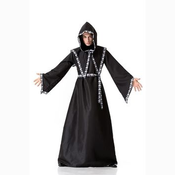 Medieval Monk Cosplay Costumes Wizard Hooded Robe Friar Priest disguise Church Cowl Apparel Men Adults Fancy Vampire Costume