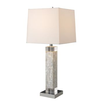 D1412 Luzerne Table Lamp In Mother Of Pearl With Milano Off White Shade - Free Shipping!