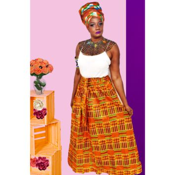 Kente Print  Long Skirt ~ The GUIA