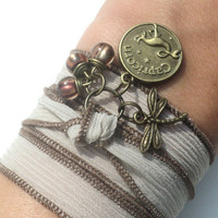 Pick Your Sign Zodiac Silk Wrap Bracelet Dragonfly Yoga Jewelry Anklet Necklace Earthy Unique Gift Under 50 Item D10