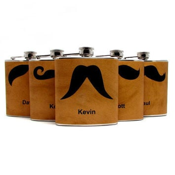 Personalized Mustache Flasks for Groomsmen by thehairofthedog