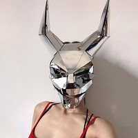 Silver Mirror Horned Face Mask