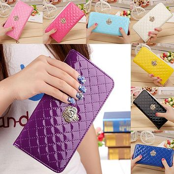 Women Long Wallet Crown Purse Bag With Coin Bags Plum Flower Clutch Wallets Phone Handbag LT88