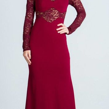 Long Sleeves Sheath Formal Dress Illusion Lace Bodice Burgundy