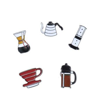 Trendy 5Pcs/set Fashion Coffee Cup Funnel Brooch Pin Badge Pins Button Denim Jacket Clothing Collar for Women Men Cartoon Jewelry Gifts AT_94_13